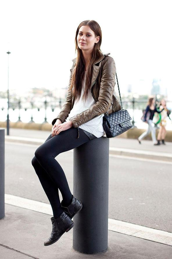le-fashion-blog-model-off-duty-australia-street-style-taupe-leather-jacket-chanel-bag-sweater-leather-shorts-tights-ankle-boots