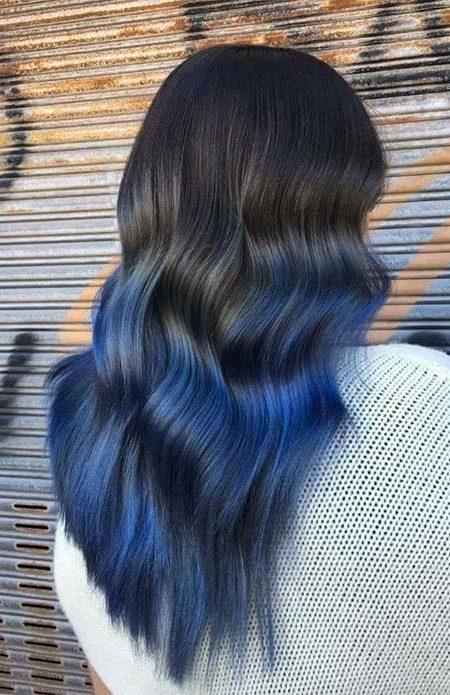Siyah mavi ombre saç
