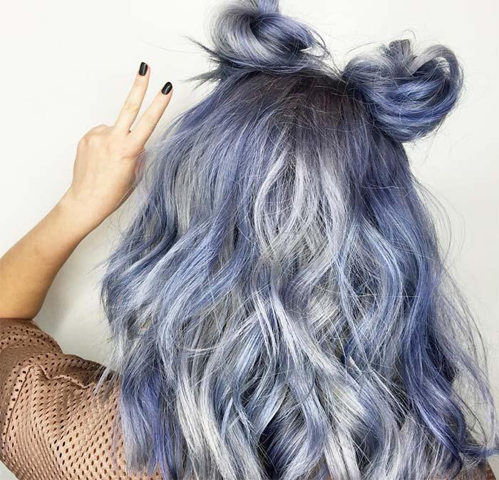 koyu köklerle mavi saç