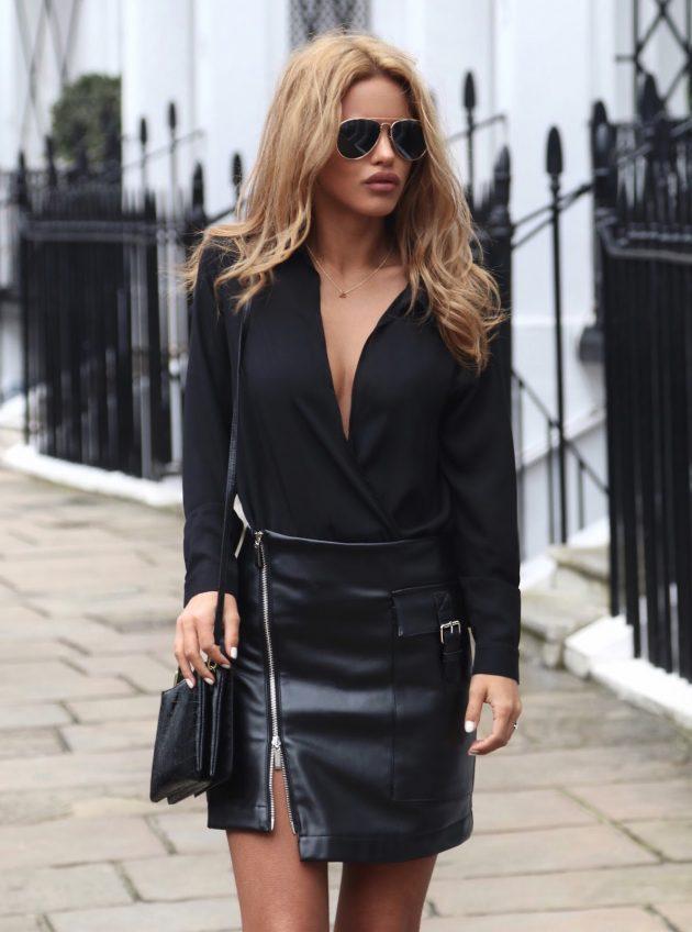 moda blogcularında fermuarlı seksi etek kombini