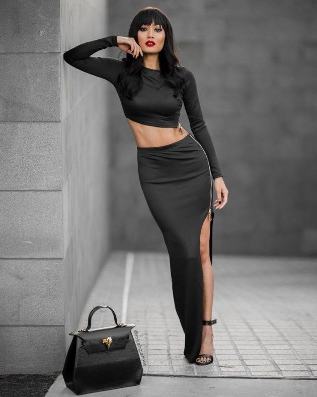 moda fermuarlı etek kombini 2018