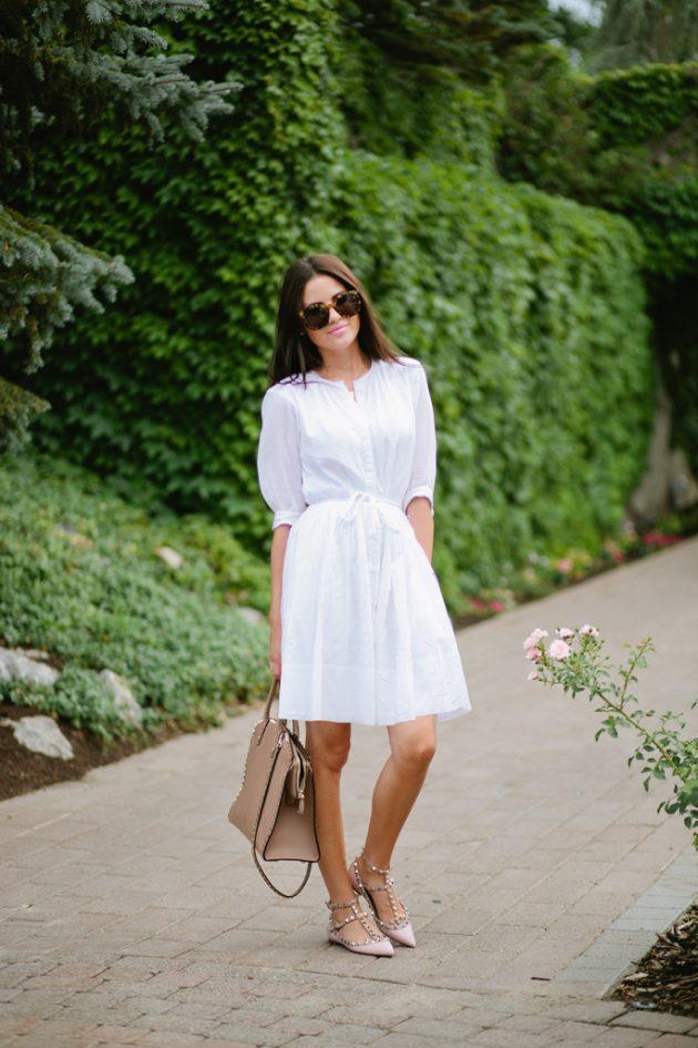 şık beyaz gömlek elbise tarzları