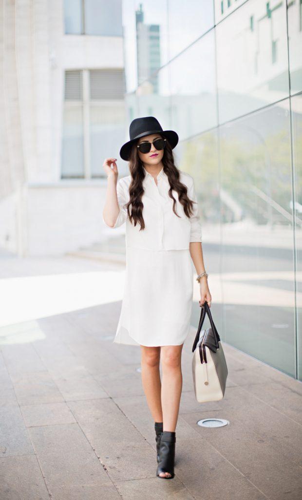 şapka ile beyaz gömlek elbise