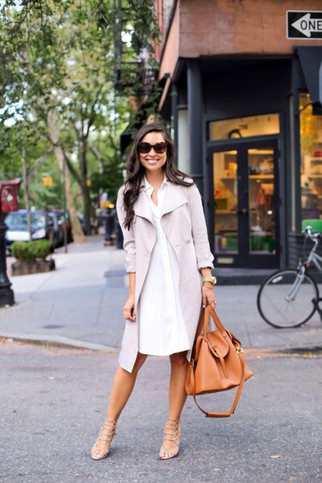 Bahar için beyaz gömlek elbiseler