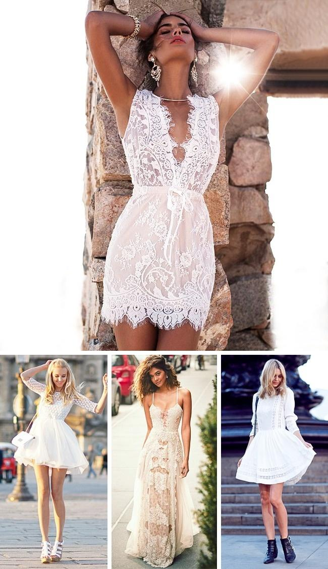Beyaz dantel elbise fikri