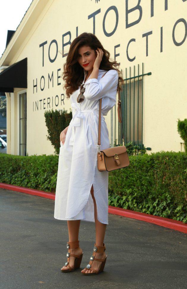 Beyaz gömlek elbise 2018