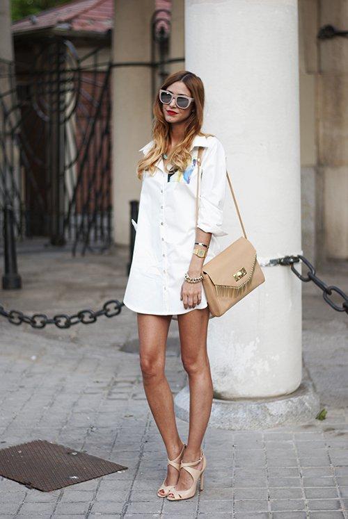 Diz üstü beyaz gömlek elbise 2017