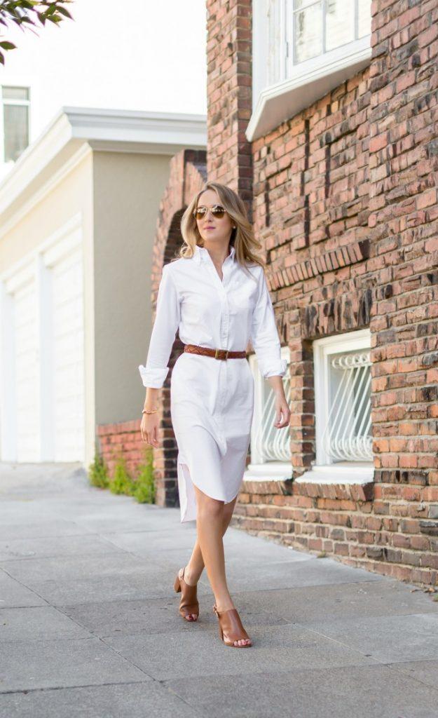 Elbise önerisi beyaz gömlek elbise