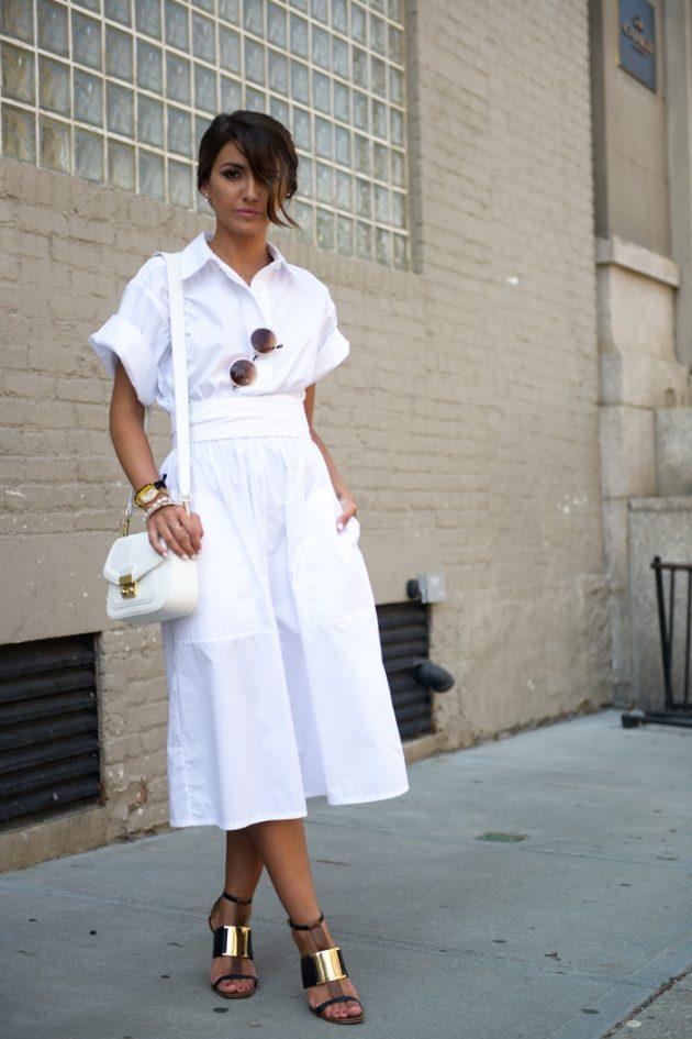 Kusursuz beyaz gömlek elbise kombinleri