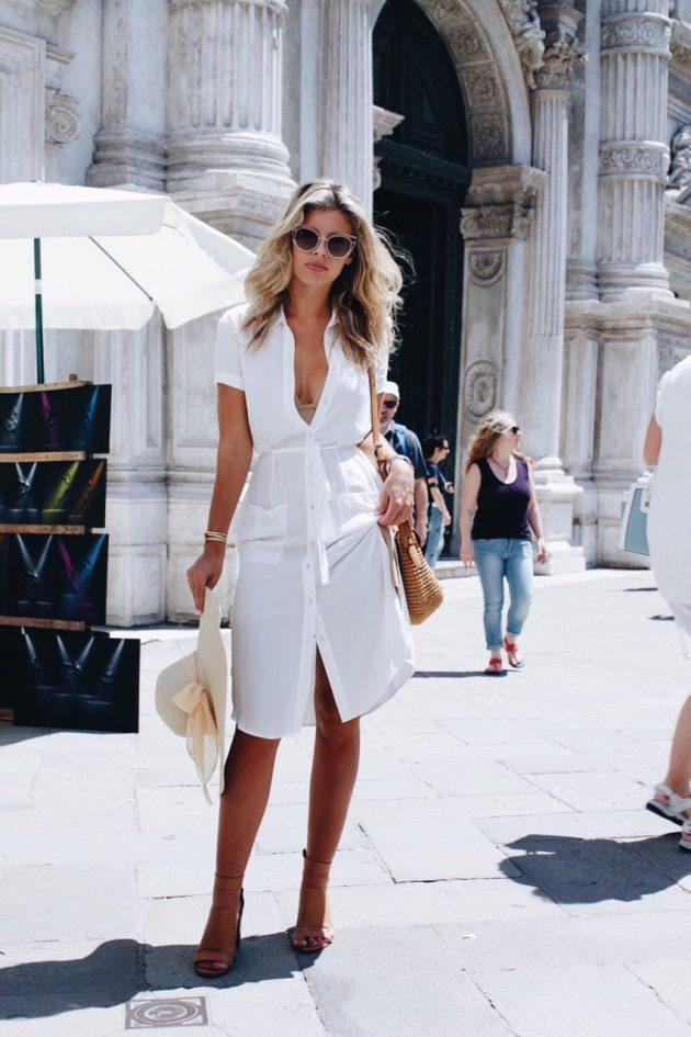 Sade beyaz gömlek elbise modeli
