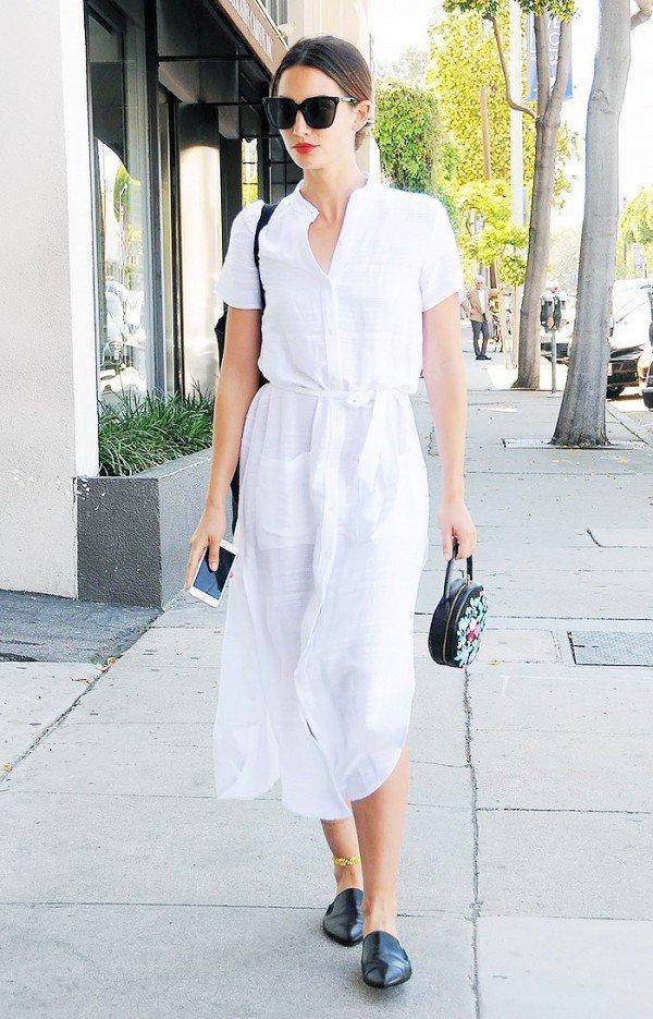 Uzun beyaz gömlek elbise modeli