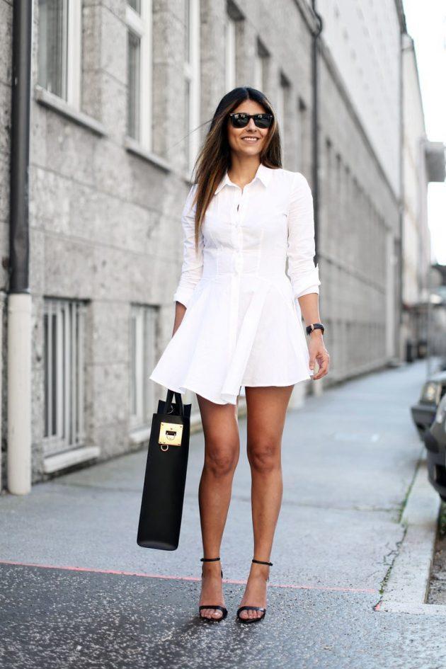 kısa beyaz gömlek elbiseler