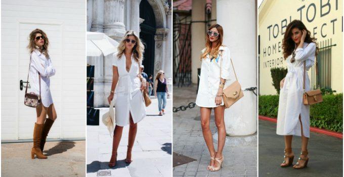 2020-2021 Moda Trendi : Beyaz Gömlek Elbiseler