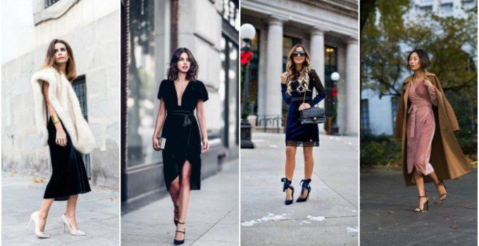 Kadife Elbise Modelleri 2017-2018