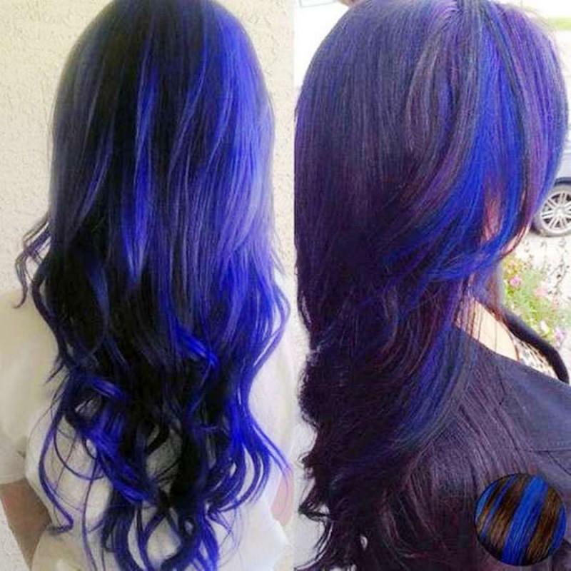 Siyah Saça Mavi Balyaj önerisi Kombin Kadın
